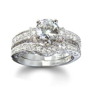 Antique Style CZ & Silver Wedding Ring Set size 7
